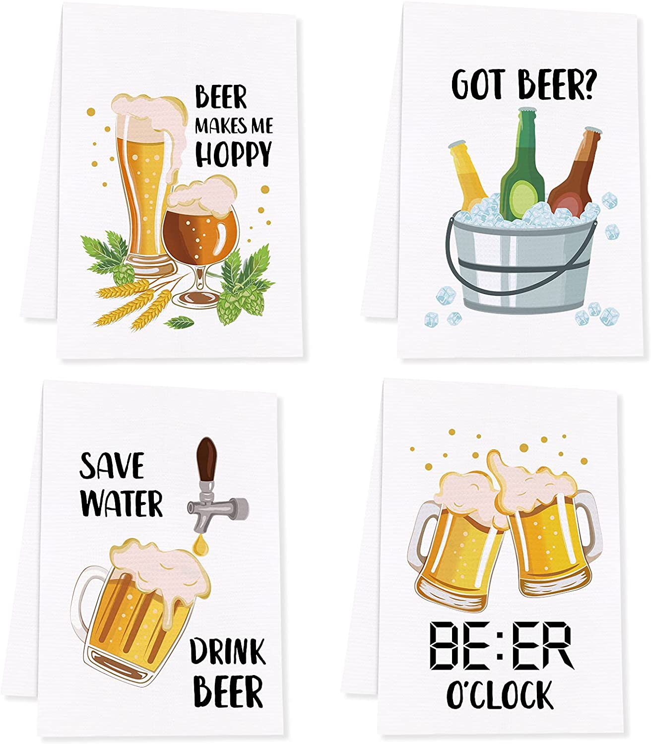 Vansolinne Beer Kitchen Towels Funny Beer Sayings Waffle Dish Towels Gift for Father's Day Beer Lovers Birthday Hostess Housewarming Alcohol Bar Accessories Christmas Tea Towels Decor Set of 4
