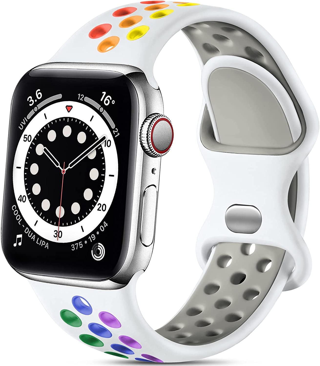 Lerobo Compatible with Apple Watch Bands 40mm 38mm, Sport Soft Silicone Wristbands Replacement Bands for Apple Watch SE & iWatch Series 6 5 4 3 2 1, Sport Edition Women Men, White/Rainbow, S/M