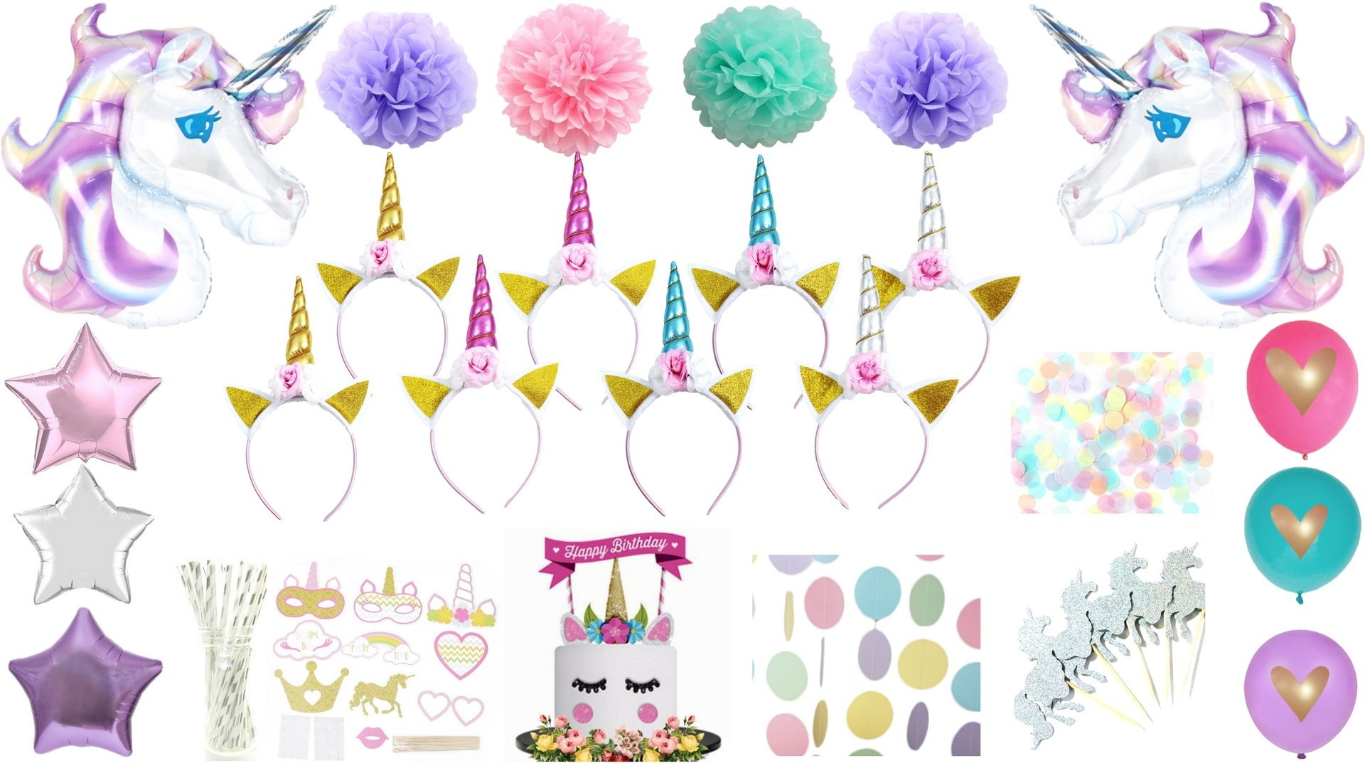 Unicorn Party Supplies Birthday Decorations Kit Headband Balloon Photo Booth Props Cake Cupcake Toppers Pastel Glitter Polka Dot Garland Gold Silver Pink Blue Pom Pompoms Giant Teal Violet Purple by BlankIt! Concepts