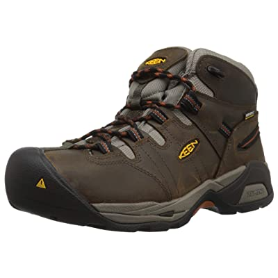 KEEN Utility Men's Detroit XT Mid Soft Toe Waterproof Work Boot, Black Olive/Leather Brown, 7 Wide US | Industrial & Construction Boots