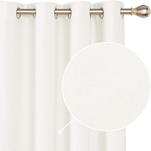 Deconovo 100 Blackout Curtains Faux Linen Extra Long Grommet Room Darkening Noise Reducing Window Panel