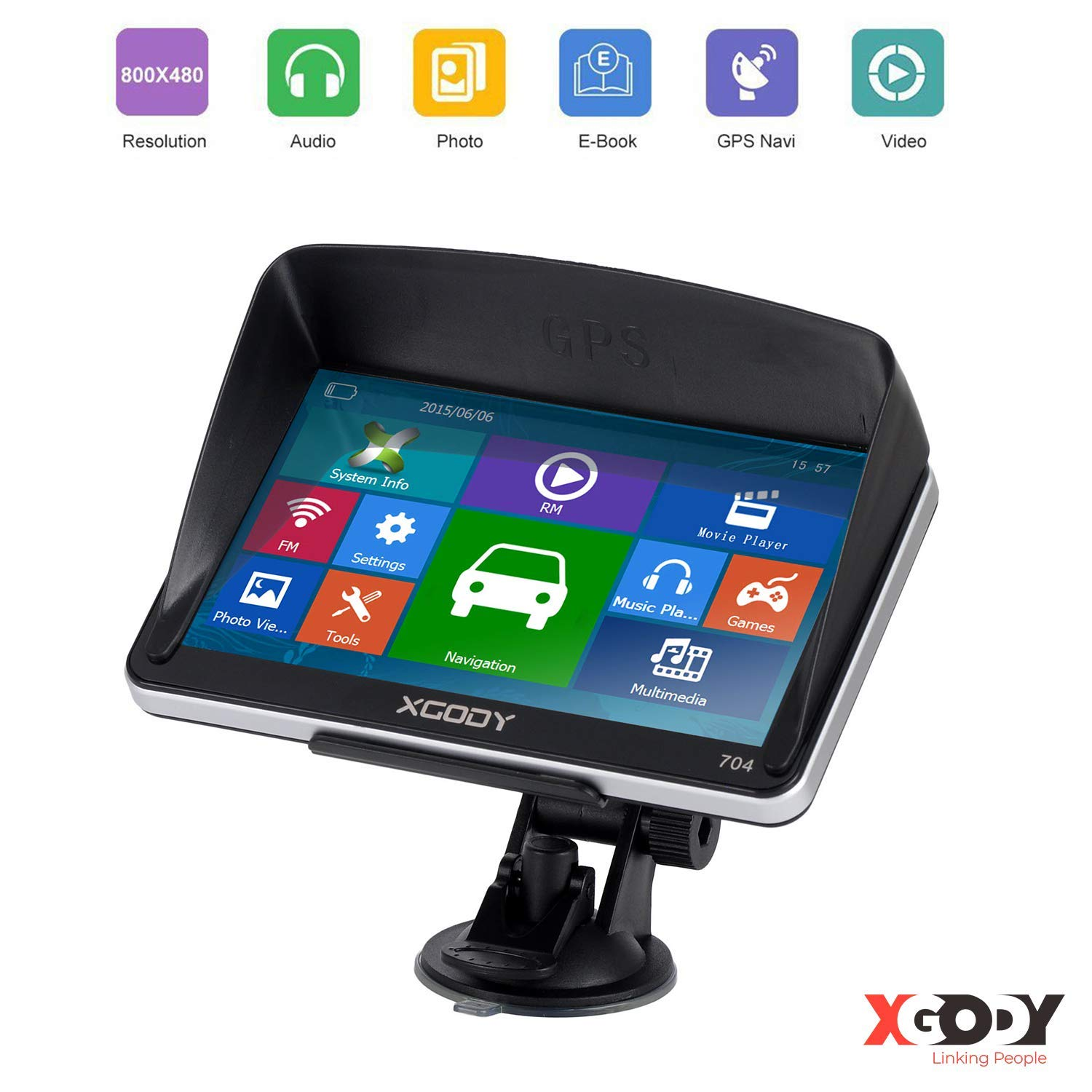 GPS Navigation for car, 7'' Xgody GPS 8GB Truck GPS Navigation System,Free American map, Camera Alerts, Lifetime Free Map Updates (2019 Upgraded Version) by Xgody Xgody