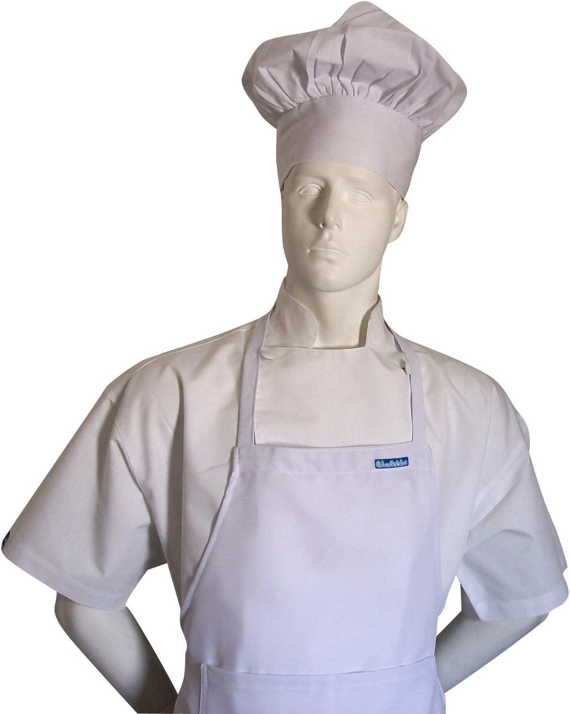 Chefskin Chef White Adult Chef Set (Apron+hat) Adjustable, Ultra Lite Fabric 71IU7GQ799L