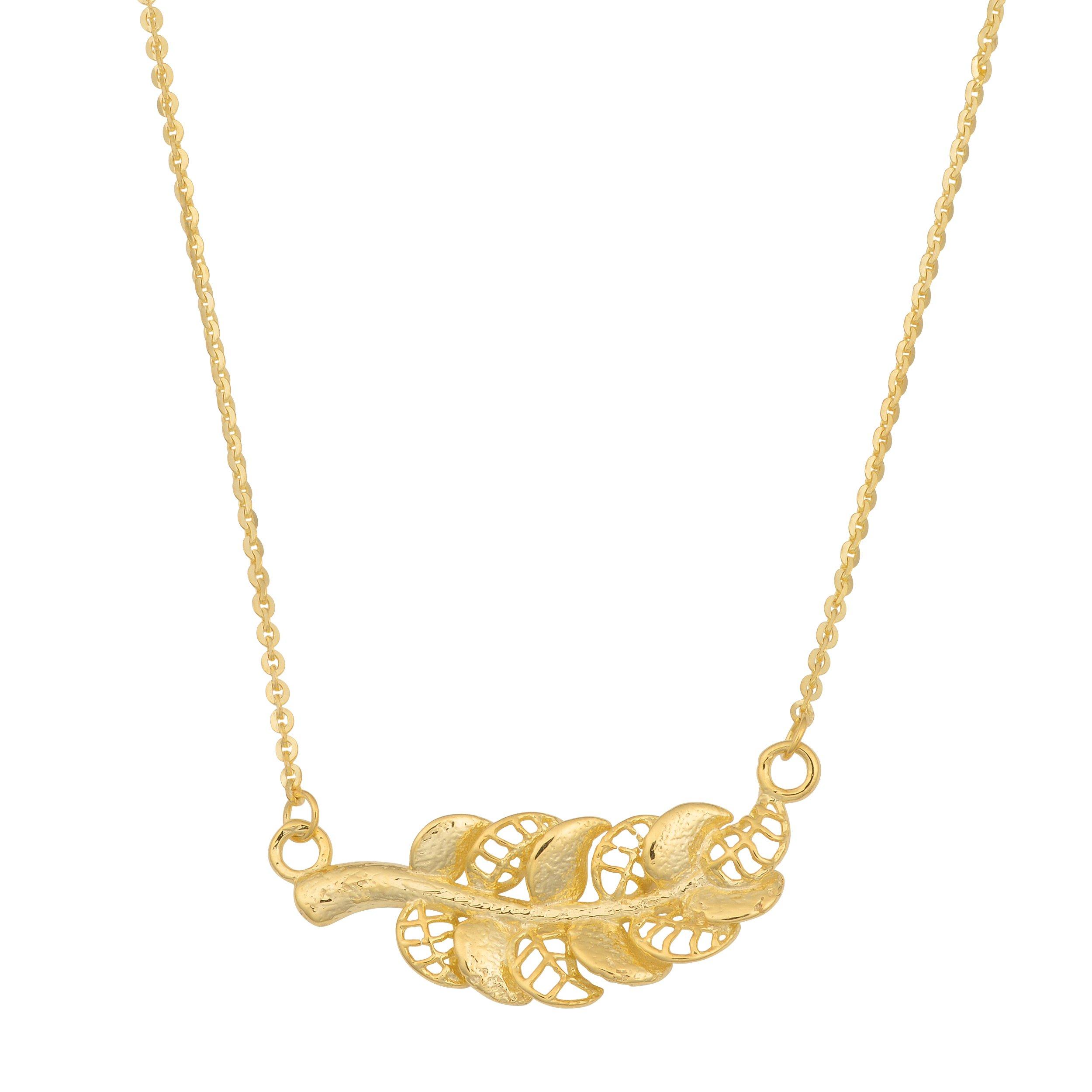 Kooljewelry 14k Yellow Gold Feather Necklace (18 inch)