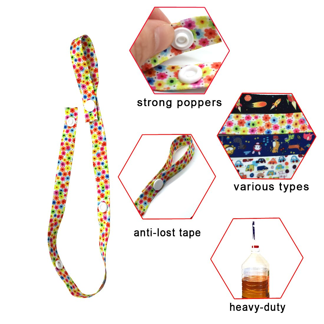 convient aux enfants et filles Sucettes de clip b/éb/é faite de mati/ère de s/écurit/é 4/ Pack fili/ères pour sucettes Baby Bottle Strap New Sippy Pal Anti Drop Baby Toys Clip Suspension pour poussette