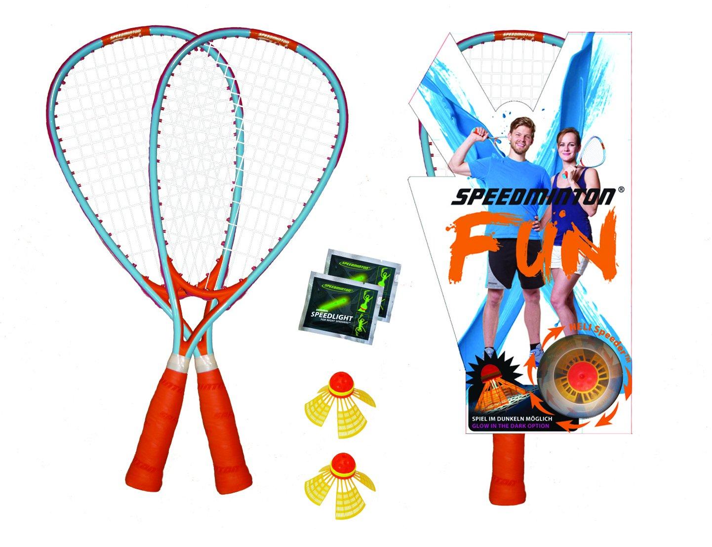 Speedminton SM01-FUN-10 FUN Set - Alternative to beach ball, spike ball, badminton, incl. 1 HELI and one FUN Speeder, perfect for the beach, park or backyard