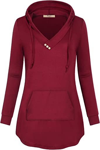 Womens Hoodies Long Sleeve Sweatshirt Tunic Pullover Drawstring Tops Casual Kangaroo Pocket