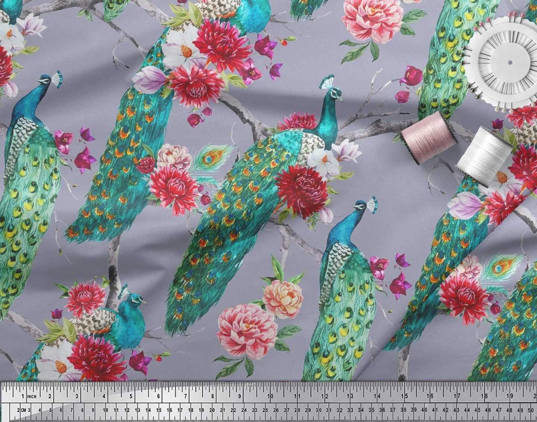 Soimoi Cotton Cambric Fabric Floral /& Peacock Bird Printed Fabric 1 Yard 42 Inch Wide