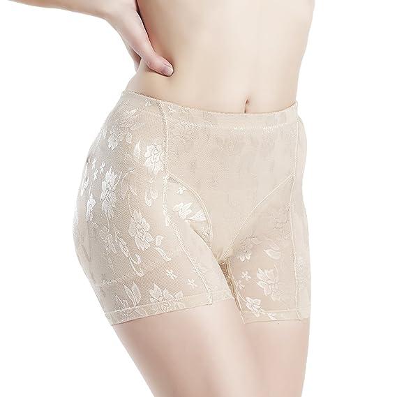 210cb62f411 Queenral Briefs High Waist Butt Lifter Hip Pads Butt Enhancer Lace Panties  Beige