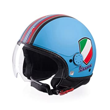 Jet Casco Vespa V Stripes/Azul Claro (diferentes tamaños)