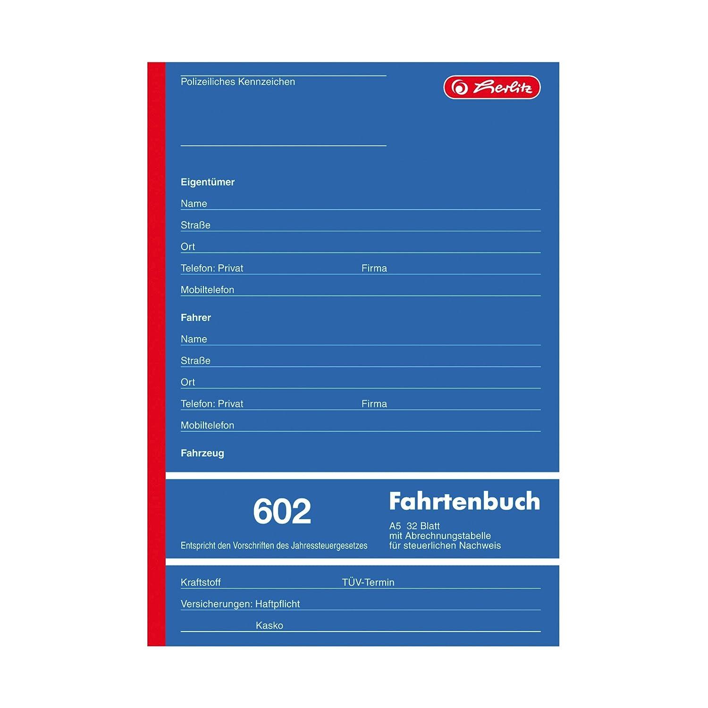 Herlitz, 840637,giornale di bordo per auto aziendale, A5602,32fogli