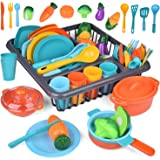 FUN LITTLE TOYS Kitchen Pretend Play Accessory Toy Set, Toy Food Play Food for Kids Kitchen Including Pots, Pans…