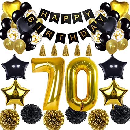 Gold 70th Birthday Balloon Banner Gold 70 Number Balloons Party Decoration