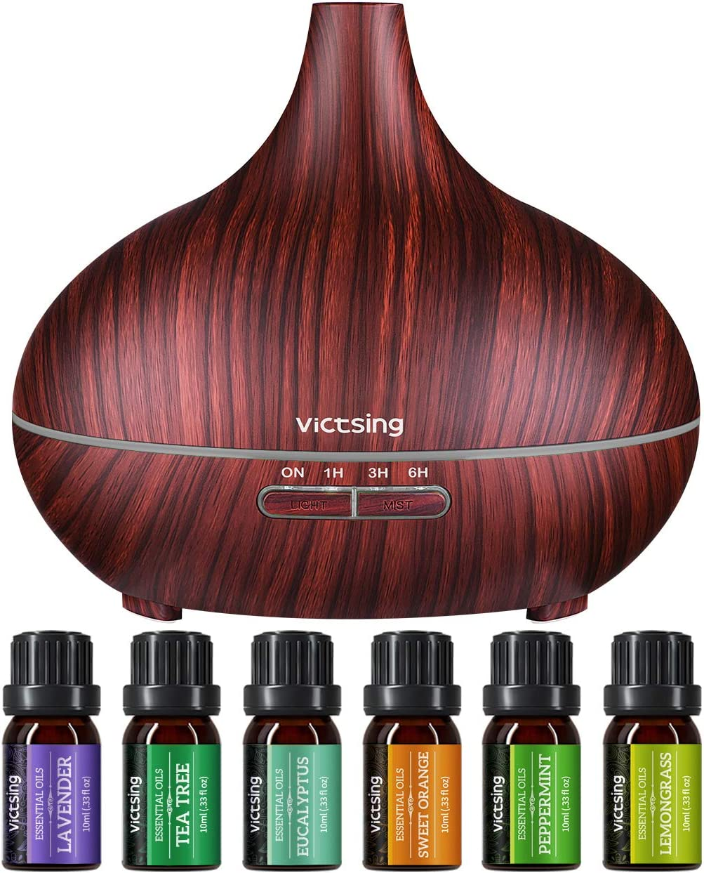 VicTsing 500ml Essential Oil Diffuser with Oils, Aromatherapy Diffuser with Essential Oil Set, Diffusers for Essential Oils with Auto Shut-Off, 4 Timer, Gift Set for Home, Red Brown