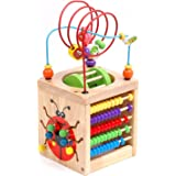 6 in 1 Wooden Activity Cube Bead Maze Multipurpose Educational Toy Wood Shape Color Sorter for Baby's & Toddlers