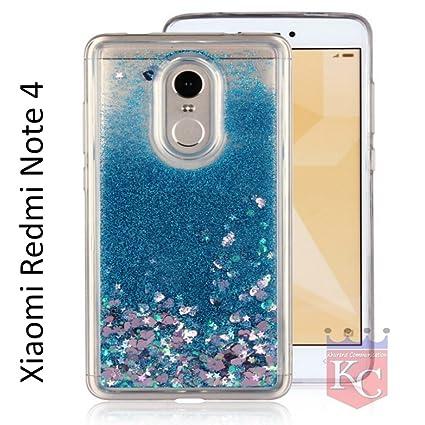 the latest a12da cd6a6 KC Liquid Flowing 3D Bling Glitter Star Transparent Soft Back Cover for  Xiaomi Mi Redmi Note 4 (Blue)