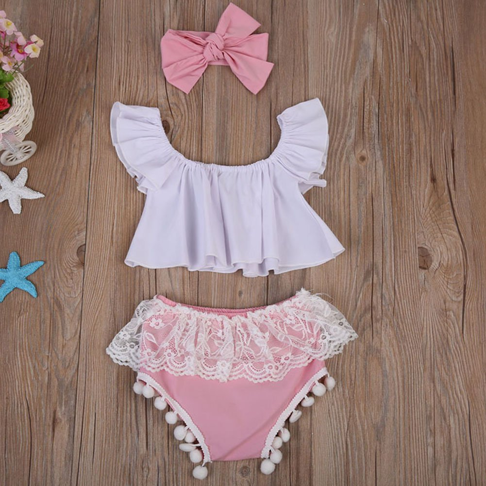 Headband 3pcs Summer Outfits Set Scfcloth Newborn Baby Off Shoulder Tops Lace Tassel Shorts