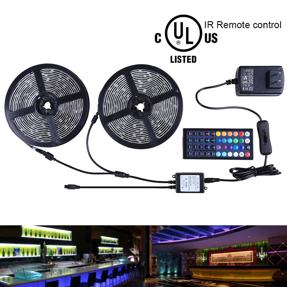 Miheal Led Strip Lights Kit 32.8 Ft (10m) 300leds Waterproof 5050 SMD RGB LED Flexible Lights with 44key ir Controller and Power Supply for Home, Kitchen, Trucks, Sitting Room and Bedroom Decoration.