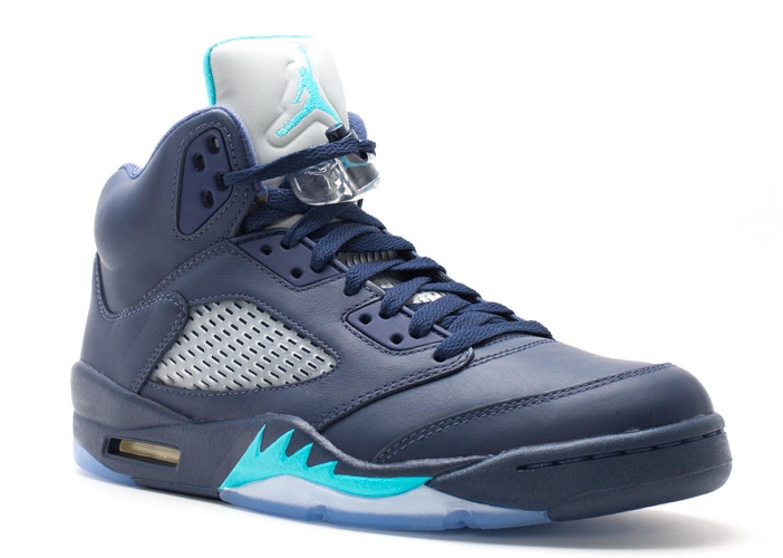 Midnight Navy, Trqs Blau-wht Nike Herren Air Jordan 5 Retro Turnschuhe