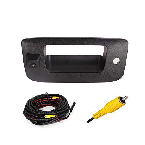 RED WOLF Tailgate Handle With Backup Camera Removable Guideline Reverse Parking For Chevrolet Silverado GMC Sierra 1500 2500HD 2007-2013 Trucks Black Waterproof