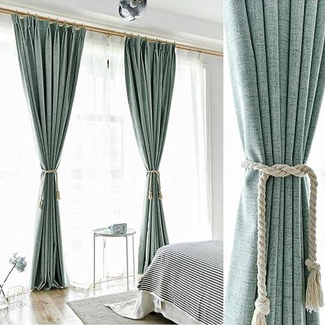 Algodón y lino + Blanca hilo verdunklungs cortinas Gris y Verde cortinas opaca con ojales para dormitorio salón restaurante Balcón 2 unidades, 245 cm x 140 cm (H x B), 2 unidades): Amazon.es: Bebé