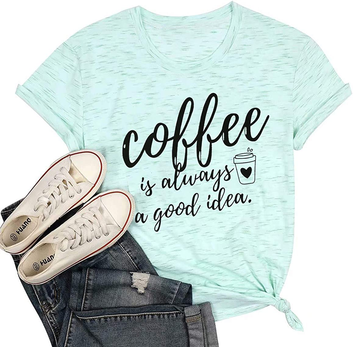 LOTUCY Coffee is Always A Good Idea Letter Print Shirt for Women Short Sleeve Graphic Tee Shirts Tops with Funny Sayings