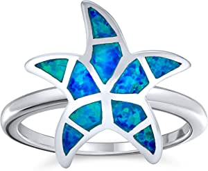 Nautical Tropical Beach Blue Created Opal Inlay Starfish Ring For Women 925 Sterling Silver