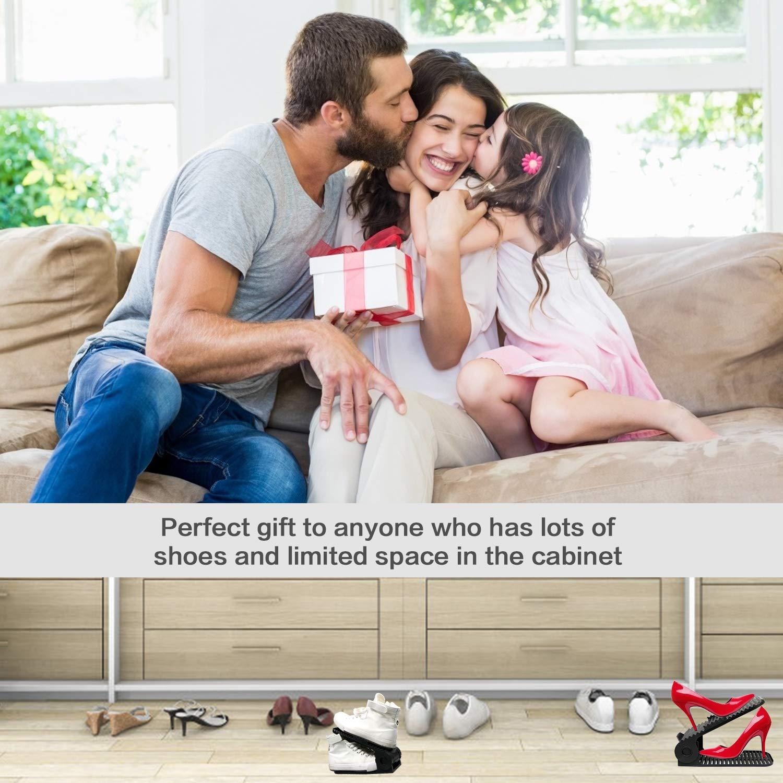 YUNDOO Organizador Zapatos Negro-Zapatos 10 Packs Ajustable Organizador de Zapatos Soportes de Calzado Apilador para Zapatos Ahorrar Espacio Negro