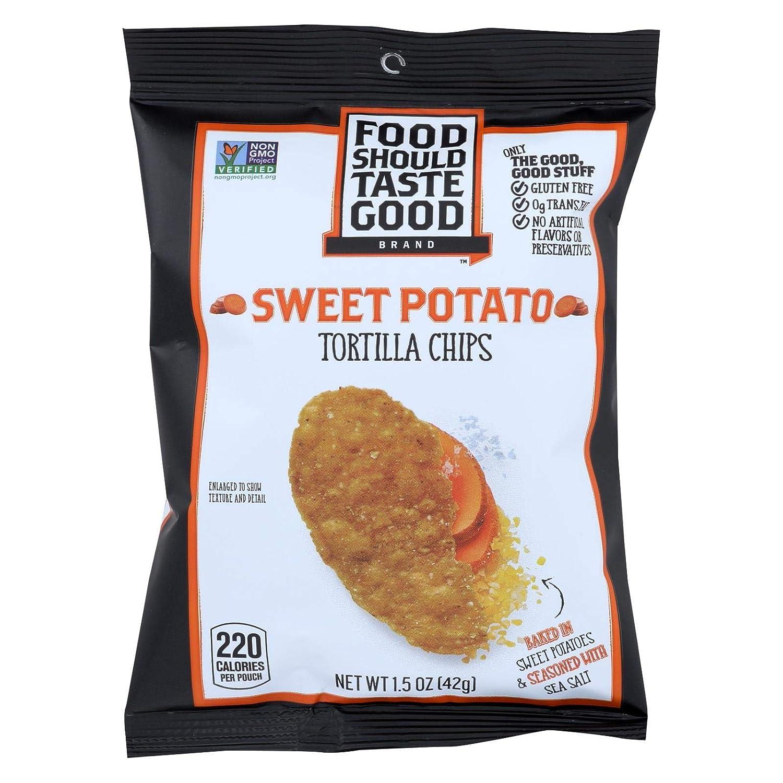 Food Should Taste Good Sweet Potato Tortilla Chips - Sweet Potato - Case of 24 - 1.5 oz.
