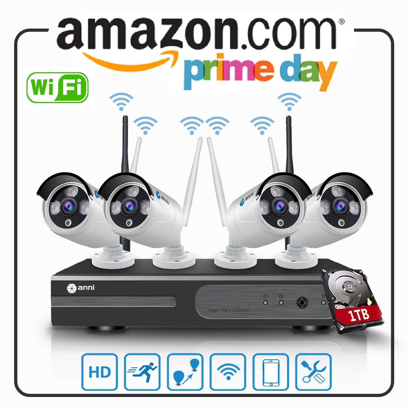 P2P no se Necesita Cable de Video 4 Outdoor visi/ón Nocturna de C/ámara Anni Sistema de Seguridad inal/ámbrica 1080N 4CH HD NVR Kit, 2.0MP 1080P C/ámara CCTV Kit de Seguridad con 1 TB HDD