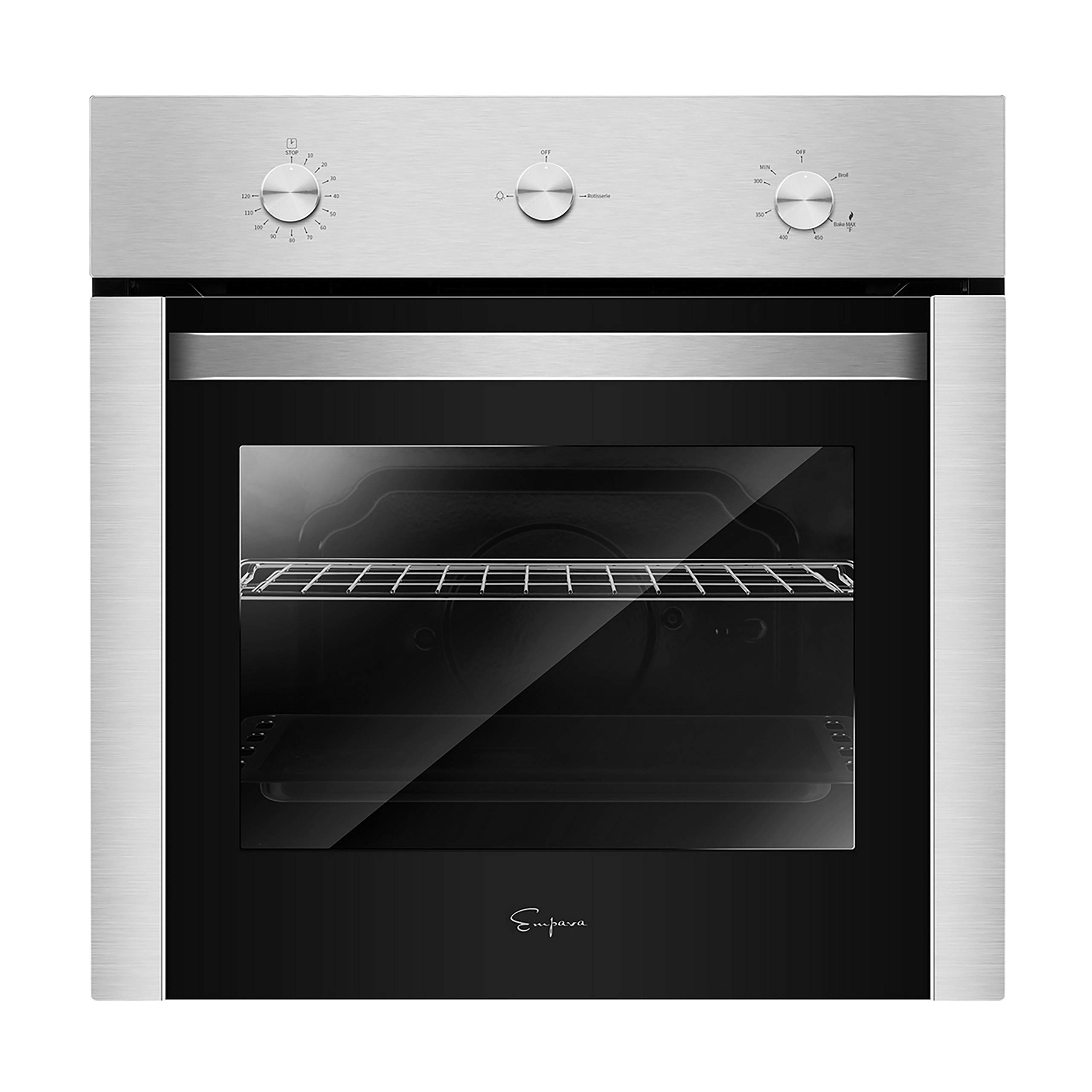 Empava 24'' Stainless Steel Built-in NG/LPG Convertible Broil/Rotisserie Function Under Counter Gas Single Wall Ovens EMPV-24XWOD04, 24 Inch by Empava