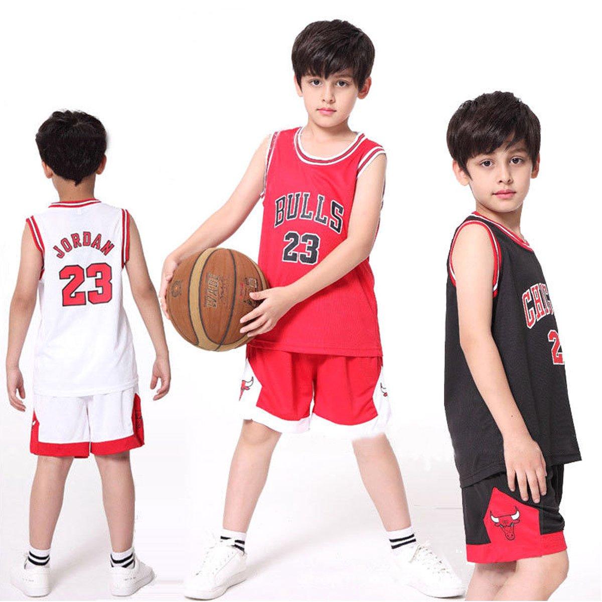 578607b98 Kid Boy Mens NBA Michael Jordan #23 Chicago Bulls RETRO Basketball shorts  Summer Jerseys Basketball Uniform Top&Short: Amazon.co.uk: Sports & Outdoors
