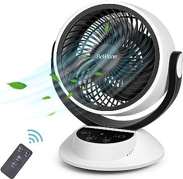 Ventilador Silencioso, Ventilador Turbo, Ventilador de Mesa, Potente Circulación de Corriente de Aire, Pantalla Táctil LCD, Control Remoto, Sincronización 1-7 Horas ...