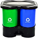 Twin Bin Dry and Wet Waste Dustbin 16Ltr(Small)