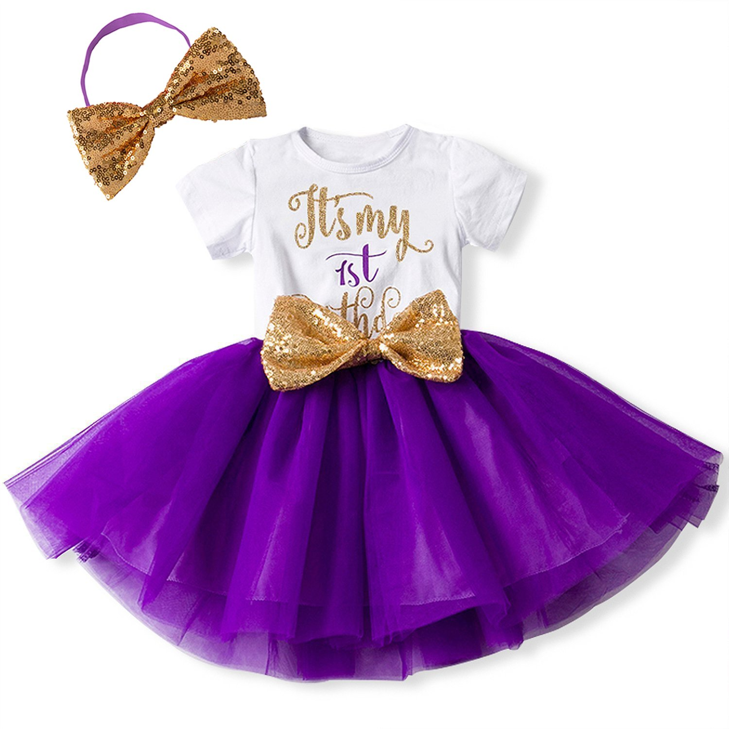 Newborn Baby Infant Toddler Girls It's My 1st/2nd Birthday Cake Smash Shiny Printed Sequin Bow Tutu Princess Bowknot Dress Outfit 1st Christmas Outfit Dress