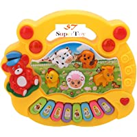 SUPER TOY Baby Farm Animal Piano with Real Animal Sound, Piano Sound ,LED Flash Light ( Design & Color As Per Availability )