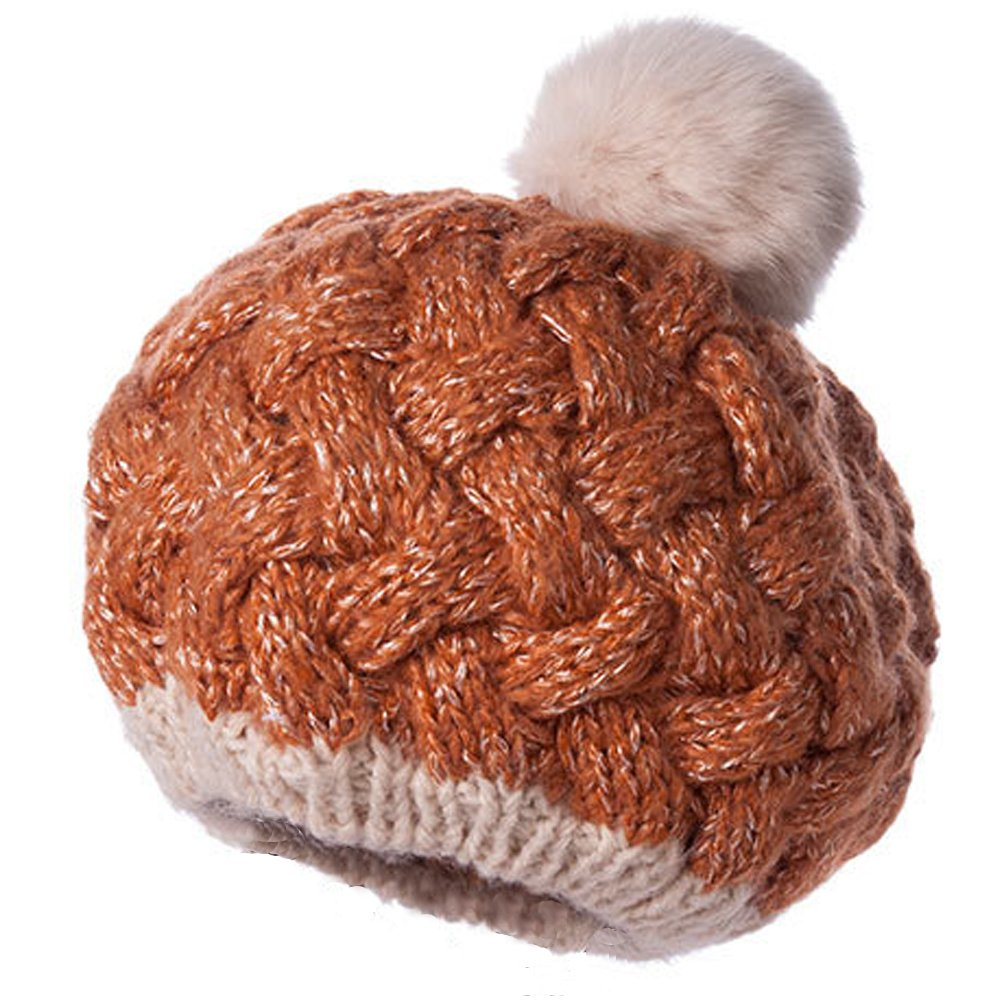 Fashion Women Knitted Caps Girls Rabbit Fur Ball Beanie Pom Pom Thick Female Winter Earflap Ski Hat Keep Warm