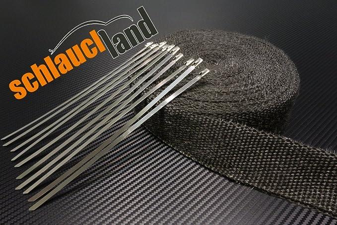 30m Hitzeschutzband 50mm schwarz 1000°C 10 Kabelbinder*** Heat wrap Auspuff