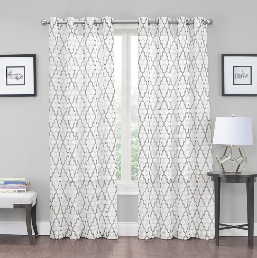 2 Pack: Kendall Luxurious Trellis Crushed Grommet Sheer Voile Curtains by GoodGram® - Assorted Colors Neutral