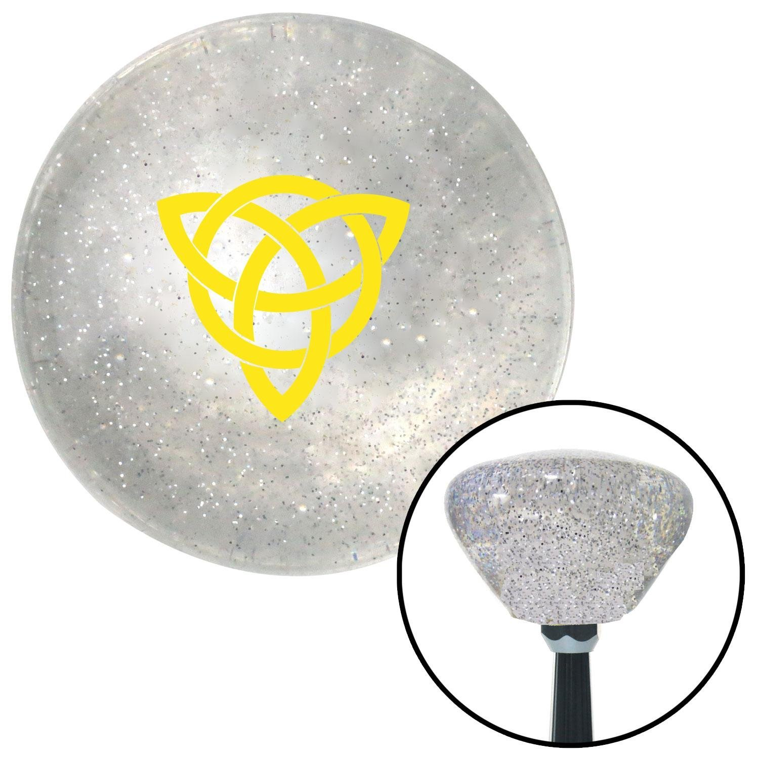 American Shifter 162467 Clear Retro Metal Flake Shift Knob with M16 x 1.5 Insert Yellow Celtic Design