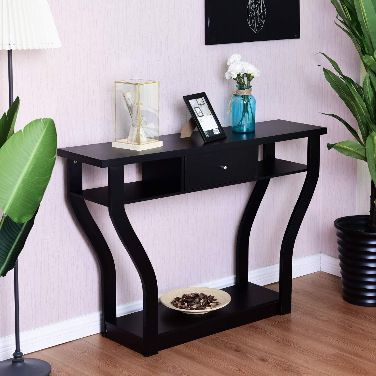 Small Space Sofa Side Table with Storage Drawer and Shelf Home Office Living Room Furniture Narrow Accent Hall Table (Black)