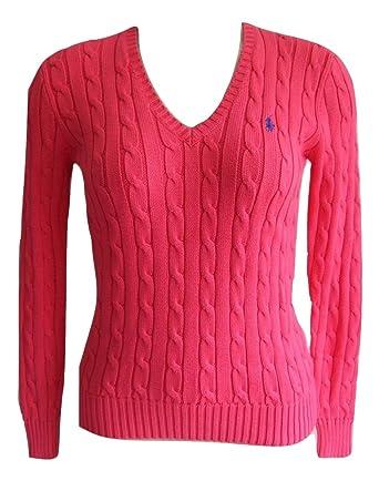 Ralph Lauren Damen Pullover V Neck SLIM FIT rosa small Pony