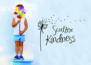 Top Selling Decals - Prices Reduced : Vinyl Wall Sticker : Scatter Kindness Image Quote Bedroom Bathroom Living Room Picture Art Peel & Stick Mural Magic Wand Size:12 Inches X 18 Inches -Color: Black