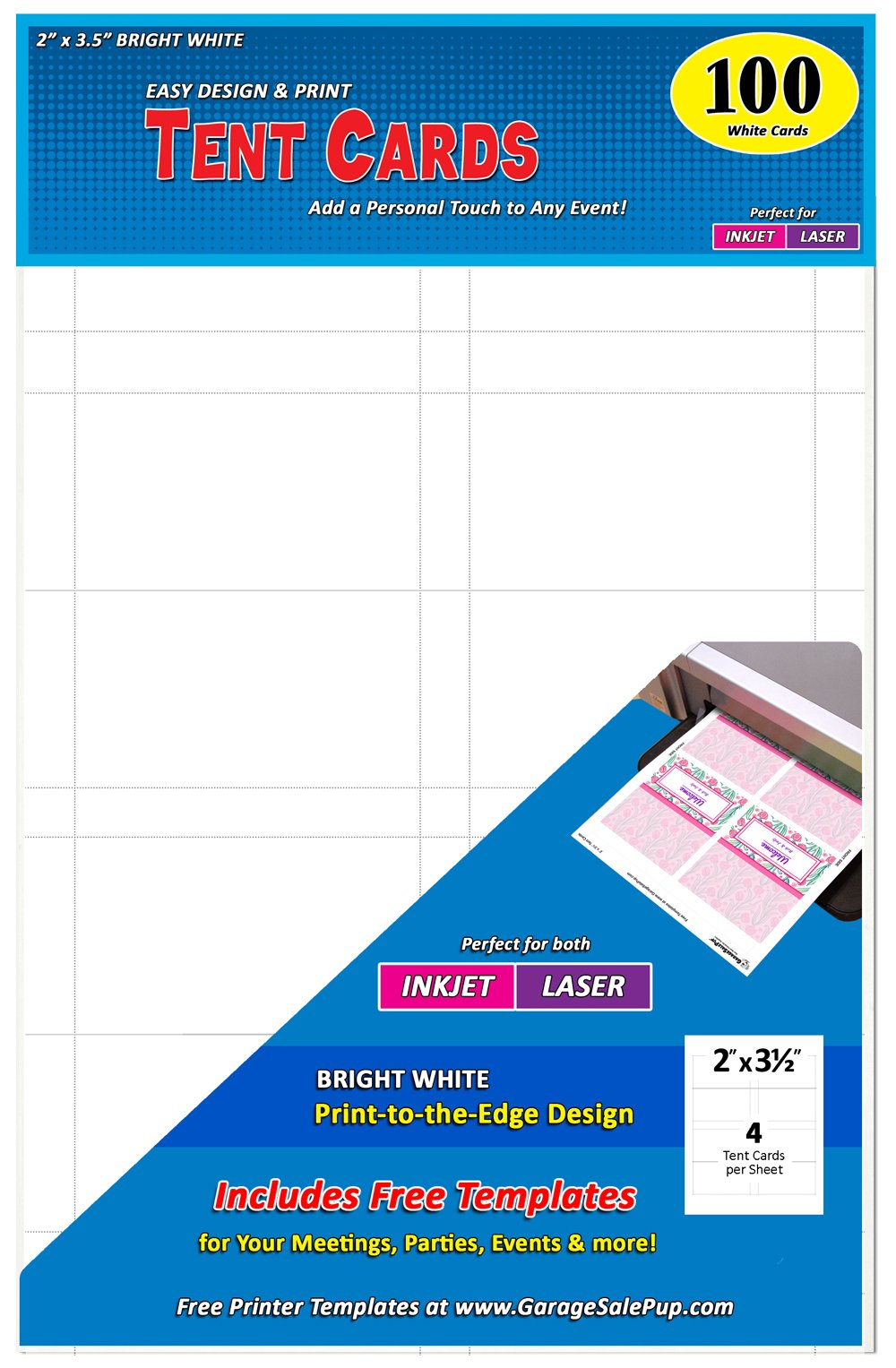 Pack of 100 Small Tent Cards, 2 x 3.5 inches, White, Laser & Inkjet