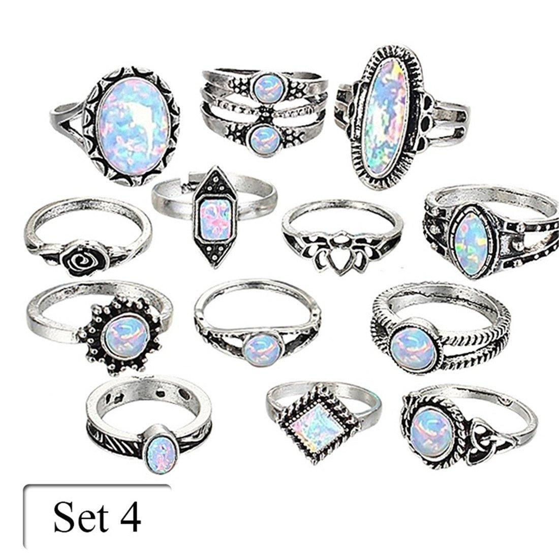 UNKE Vintage Bohemian Opal Rhinestone Eye Moon Wave Teardrop Carved Knuckle Joint Nail Rings for Women,10 Pcs