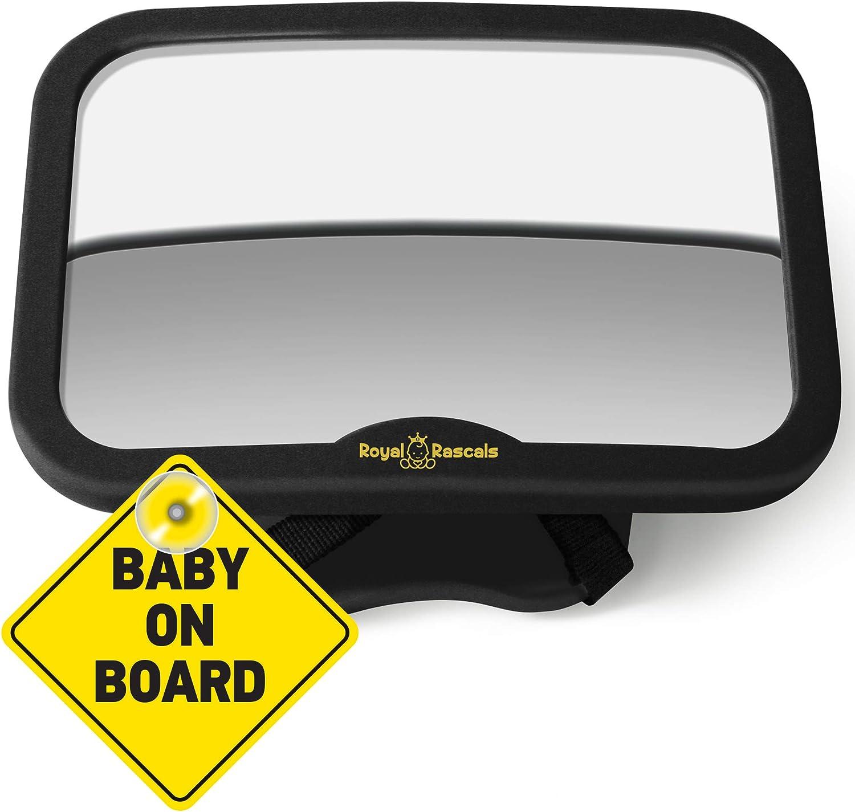 ROYAL RASCALS | Espejo para vigilar al bebé en el coche | Espejo retrovisor para asiento de niños orientado hacia atrás | NEGRO | Inastillable | PRODUCTO PREMIUM | Señal de Baby on Board GRATIS