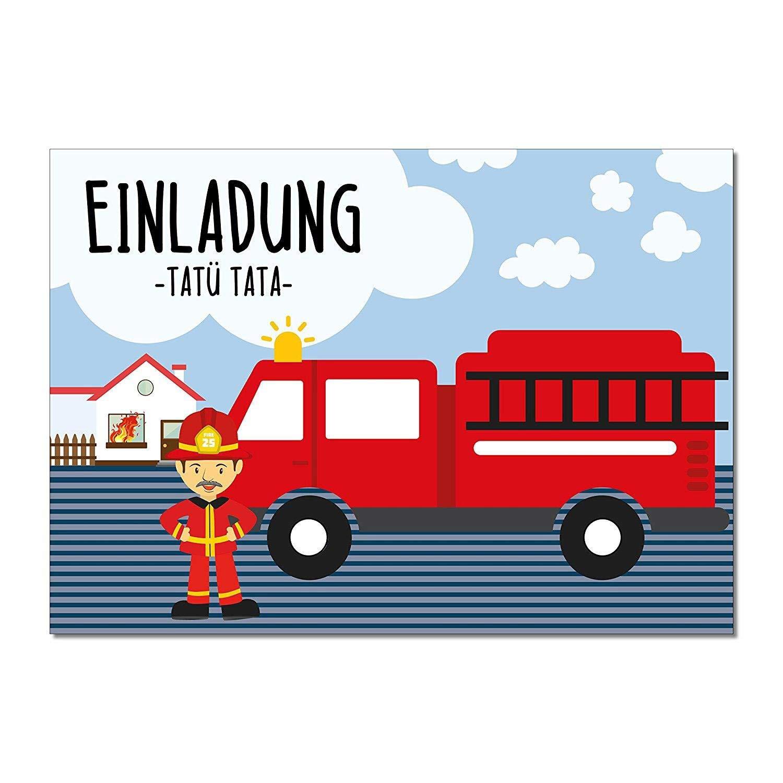 15/inviti dei Vigili Del Fuoco I Din A6/I DV /_ 189/I camion dei vigili del fuoco Vigile del fuoco ragazzi biglietti d invito I Motto Party Vigili del fuoco.