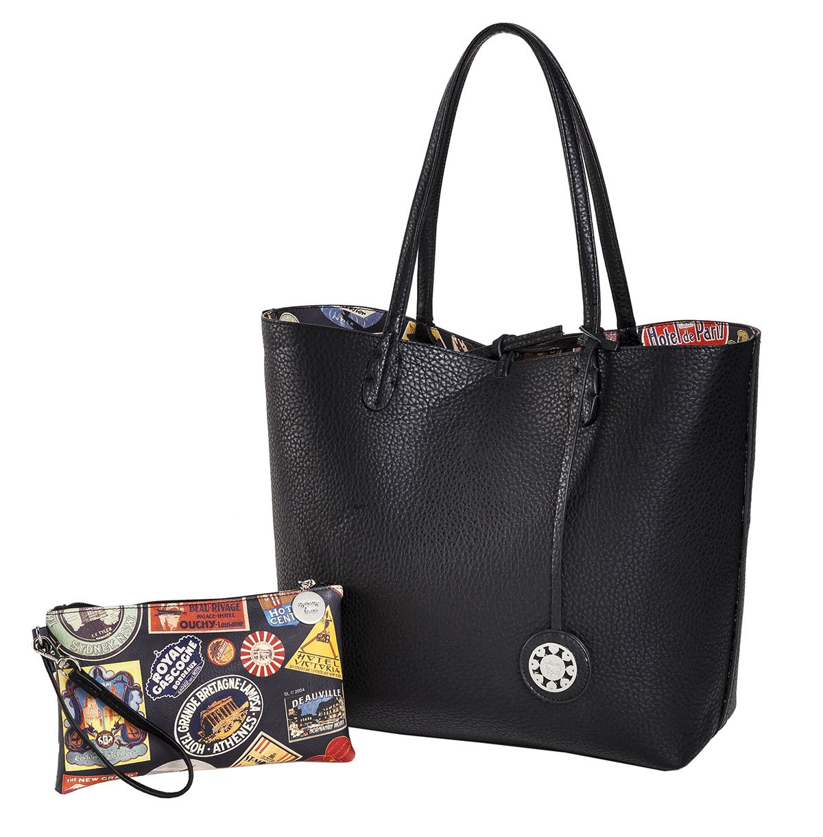 Sydney Love Reversible Tote & Wristlet Set, World Travel Print/Black