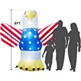 Giant 8 Ft. Tall Holidayana 4th Of July Inflatable Bald Eagle Inflatable Featuring Lighted Interior/Airblown Inflatable 4th of July Decoration With Built In Fan And Anchor Ropes