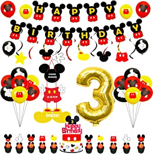 Mickey Birthay Party Supplies 3rd Birthday Mickey Party Decoration Include Hanging Swirls Banner Welcome Door Sign Balloons Cake Topper Cupcake Toppers For Baby Boys Third 3 Mickey Birthday Decor(70pcs)